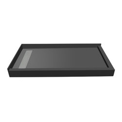 Tileredi - TileRedi RT3448LDR-PVC-BN3 34x48 Double Curb Pan L Trench - TileRedi RT3448LDR-PVC-BN3 34 inch D x 48 inch W, fully Integrated Left PVC Trench Drain, 22.5 x 3 inch Solid Brushed Nickel Surface, with Right Dual Curb