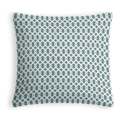 Aqua Small Geometric Micro Corded Throw Pillow - Every decorator knows: it's the details that make a room.  That's why we love the Microcord Throw Pillow with a thin piped edge that adds just a hint of color.  We love it in this bright aqua & white mazelike lattice.  a little pizazz will go a long way.