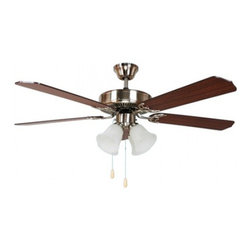 YOSEMITE HOME DECOR - 52 Inch Ceiling Fan in Bright Brush Nickel Finish with 16 inch lead wire - - Ceiling Fan with Light Kit