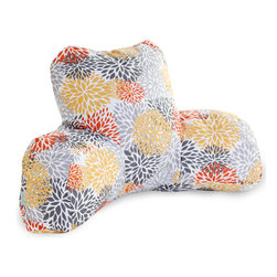 Majestic Home - Outdoor Citrus Blooms Reading Pillow - Now you can kick back and relax anywhere, inside or out, with this comfortable and supportive Reading Pillow. The Majestic Home Goods Indoor/Outdoor Reading Pillow provides back and head support that is perfect for many activities such as reading, working on your laptop or lounging with friends. Stuffed with a super loft recycled polyester fiber fill, the reading pillows zippered slipcover is woven from Outdoor Treated polyester and has up to 1000 hours of U.V. protection. The slipcover also zips off and is machine-washable.