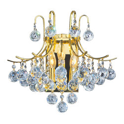 "Worldwide Lighting - Empire 3 Light Gold Finish Crystal 16"" W Wall Sconce Light, Large - This stunning 3-light wall sconce only uses the best quality material and workmanship ensuring a beautiful heirloom quality piece. Featuring a radiant gold finish and finely cut premium grade crystals with a lead content of 30%, this elegant wall sconce will give any room sparkle and glamour."