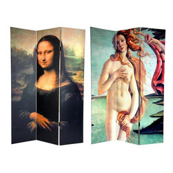 Oriental Furniture - 6 ft. Tall Double Sided Mona Lisa and Botticelli Room Divider - This beautiful room divider needs no introduction. It features two instantly recognizable, iconic images from the Italian Renaissance. The front is a section of Botticelli's The Birth of Venus, circa 1482-1486, a provocative depiction of the Roman goddess of beauty modestly covering herself. The back is an enlarged version of Da Vinci's The Mona Lisa, circa 1503-1506, with her legendary wry smile. This pair of masterpieces provides you with attractive interior design elements for your living room, bedroom, dining room, or kitchen. This three panel screen has different images on each side, as shown.