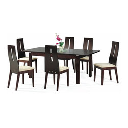 Contemporary Extendable Kitchen Dinette Sets - Dark walnut extendable modern dining set.