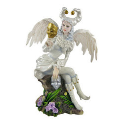 Elizabethan Masquerade Fairy Statue Comedy Tragedy - This stunning cold cast resin statue is of a beautiful Elizabethan Era angel-winged fairy, wearing a silver-white gown and joker's cap, holding masks depicting comedy and tragedy. The statue has excellent detailing, from the curls in her wig to the texture in her leggings, and is hand-painted. It measures 9 inches tall, is 7 inches wide and 4 inches deep. It makes a great addition to any fairy collection.