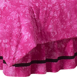 Sweet Jojo Designs - Pink Peace Queen Bed Skirt - The Peace Pink Bed Skirt by Sweet Jojo Designs will help complete the look of your child's room. This skirt, or dust ruffle, adds the finishing touch while conveniently hiding under-the-bed storage.