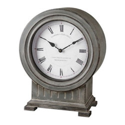 Uttermost - Uttermost Chouteau Mantel Clock in Antiqued Dusty Gray - Antiqued dusty gray finish with burnished edges.