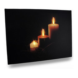 Zeckos - Three Flickering Candles Printed Canvas Led Wall Hanging - This serene wall hanging features an image of 3 burning candles with perfectly placed LED lights that bring it to life. It measures 15.75 inches long, 11.75 inches high and .5 inch deep (40 X 30 X 1 cm) with an attached hanger that makes mounting on any wall simple. The flickering lights are powered by 2 AA batteries (not included) accessible on the back side, are controlled by an inconspicuous on/off switch on the side, and unsightly wires are concealed and contained by the vinyl backing. The image is printed on canvas stretched over a wood frame, and is a lovely accent in bedrooms, living rooms, dining rooms, and is a wonderful to highlight your Halloween decor.