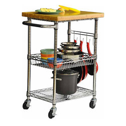 Trinity - Trinity EcoStorage Chrome Bamboo Top Kitchen Cart - Roll this chrome bamboo top kitchen cart into your kitchen and youll have a lot of extra space to store pots,pans,and more. The removable top is the perfect place to prepare breakfast or chop up your meat,as it doubles as a cutting board.