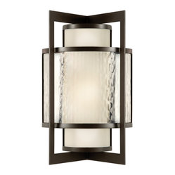 Fine Art Lamps - Singapore Moderne Outdoor Outdoor Wall Sconce, 818081ST - A handsome addition to the entry or veranda, this outdoor sconce features an off-white interior globe surrounded by a veil of clear, textured glass. The metal frame is finished in a dark bronze patina.
