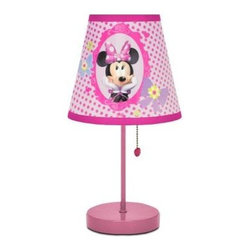 Disney - Disney White Novelty Lamps: 16 in. Minnie Mouse White Table Lamp WK317645 - Shop for Lighting & Fans at The Home Depot. Brighten up your child's room with this adorable Disney Minnie Mouse Table Lamp. Little girls will love the precious Minnie Mouse design and purple painted base. Unlike conventional lamps, this kid's lamp includes a handy heart shaped pull chain that your kids would love to turn on and off over and over again. Apart from being a night lamp, the pull-chain table lamp lends itself to enhance the decor of your kids rooms and nurseries. Also, the table lamp has been crafted to compact dimensions in view of kids safety and ease. If your kids love Minnie and adore Disney artwork, this decorative table lamp is a must in their rooms and nurseries.