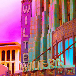 "Andrea Reider Photography - 12"" x 8"" Photocolorized Metal Print of Pellissier Building and Wiltern Theatre - This photocolorized image is part of a series of over 100 colorized photographs of landmark buildings and sites in Los Angeles. I developed a unique process for colorizing photographs, blending up to 5-6 images of ""colored light"" and creating striking effects and colors."