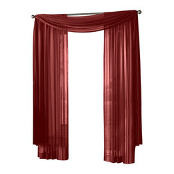 """HLC.ME - HLC.ME Sheer Curtain Window, Burgundy, Panel - Each panel is approximately 54"""" wide and 95"""" in Length. For a full look use 2 panels to cover a standard size window. This picture shows two sheer panels  this package contains one (1) Sheer Panel. Decorate every window with style and sophistication. Allows natural light to flow through the room . Add a Sheer Scarf for an elegant finished look . Have pocket insert that create a clean  tailored look. The finishing touch for your window is a beautiful Decorative Curtain Rod (not included)."""