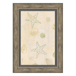 Soicher-Marin - Sea Stars & Shells B - Giclee print with a traditonal rustic distressed grey wooden frame with a grey linen liner.  Includes glass, eyes and wire. Made in the USA. Wipe down with damp cloth