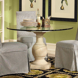 Ballard Designs - Baluster Base with Glass - Antique White has an ochre base. Antique Beige has a gray base. Made of plaster, this looks just like the handturned wood antique we patterned it after, right down to the aged cracking. Use one with glass for a small dining table. Use a pair to create a long console. It even works without glass as a side table. Baluster Base features:. .