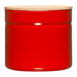 Inova Team -Traditional Food Container - Large, Red - With an ash wood lid and a stackable shape, this enamel and steel storage pot provides a flavor-neutral and non-porous for preserving food.