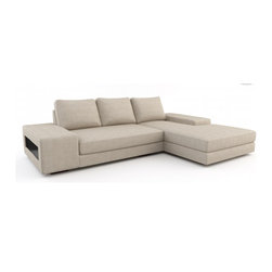 Strata Chaise Sectional (Eco-Friendly) - Modern style eco-friendly sectional sofa that is made with 100% alder wood, all natural latex and eco wool, and comes in a large variety of natural or recycled fabrics. It's made in Los Angeles, and is natural from the inside out with no use of chemicals or fire retardants. It can also be made to the inch, and customized to the exact layout you need.