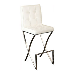 Great Deal Furniture - Midcentury Modern Design White Leather Barstool - This bar stool adds an elegant touch and class to any contemporary kitchen or dining areas. Its unique iconic design along with a stainless steel frame will blend in perfectly with the modern look of your home.