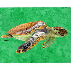 Caroline's Treasures - Turtle Kitchen Or Bath Mat 20X30 - Kitchen / Bath Mat 20x30 - 20 inches by 30 inches. Permanently dyed and fade resistant. Great for the Kitchen, Bath, outside the hot tub or just in the door from the swimming pool.    Use a garden hose or power washer to chase the dirt off of the mat.  Do not scrub with a brush.  Use the Vacuum on floor setting.  Made in the USA.  Clean stain with a cleaner that does not produce suds.