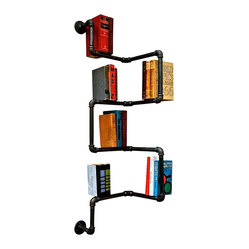 Oilfield Slang - Industrial Pipe Corner Bookshelf - These are no pipe dreams. These bookshelves are not only a brilliantly creative idea, they actually work beautifully too, providing book storage and an entirely new perspective on the artistic possibilities for industrial iron piping. Whatever your space, there's a configuration that can be honed to your habitat.