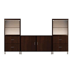 Howard Miller Custom - Jeffrey Cabinet in Espresso - This cabinet is finished in Espresso on select hardwood and Veneers, with Nickel hardware. Flat profile top and metal leg base. Hardware: bar pulls on doors, metal drawer glides, and metal shelf clips. Features soft-close doors. Console:. 2 flat panel doors. 2 adjustable interior shelves. Tower:. 2 Glass doors without frames and 4 flat panel drawers. 2 adjustable interior shelves. Simple assembly required. Console: 47 in. W x 21 3/4 in. D x 29 in. H. Tower: 24 in. W x 14 3/4 in. D x 53 in. H. Overall: 95 in. W