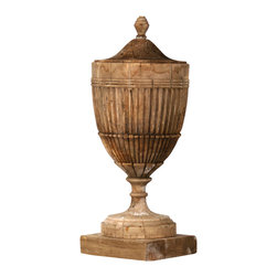 Rebbeca Wooden Urn - H: 25, Diam: 10 - Historically, urns have been used in decor since the late 1760's and still are common design items used to beautify spaces of all kinds. The poplar carved wooden urn stands 25 inches high and 10 inches wide and give a dramatic flair with a natural touch to any entryway or dining area.