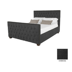 Apt2B - Huntley Tufted Upholstered Bed, Charcoal, Eastern King - Covered in a slightly textured poly-blend fabric, expertly button tufted and accented with rustic antiqued nailheads, the Huntley will turn any drab bedroom into a luxury budoir or man castle!