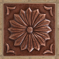 "8"" Solid Copper Wall Tile with Black Eyed Susan Flower Design - Antique Copper P - Personalize your tile work with the addition of the Solid Copper Wall Tile with Black Eyed Susan Flower Design."