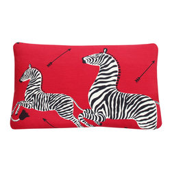 Chloe and Olive - Scalamandre Red Zebra Print 16x26 Left Facing Throw Pillow - This iconic, prancing print by Scalamandre will bring vivacity and glamour to a couch, bed or chair. With a stunning pair of zebras on each throw pillow, the exquisite combination of red, black and white will be a favorite for many seasons to enjoy. Scalamandre is a well known manufacturer of the finest quality fabrics for over 80 years.