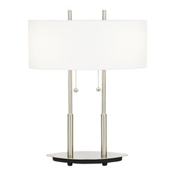 "Lite Source - Bliss Modern Table Lamp - A soft wide light throw makes this wonderfully eye-pleasing lamp a welcome addition to work spaces or computer desks. Twin support arms light pulls and finials lend the design a balanced harmonious look. Polished steel with off-white oblong shade. Uses two 60 watt bulbs (not included). 20"" high. Shade measures 6"" high 16 1/2"" wide 9"" deep."
