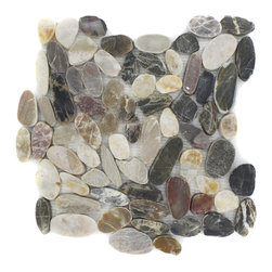 "GlassTileStore - Cobblestone Polished Motley Marble - Cobblestone Polished Motley Marble Tile          This is real marble rocks of various sizes that have been halved and hand set on a fiberglass mesh backing. Create an unique and attention-grabbing back splash or focal point of your room with this cobblestone in multicolored. This is great for walls in a bathroom, fireplace or as a back splash. You can clean cut the sheet to make borders and buttons of any size.         Chip Size: Random Flat   Color: Multicolored   Material: Cobblestone Marble   Finish: Polish   Sold by the Sheet - each sheet measures 12""x12"" (1 sq. ft.)   Thickness: 8mm            - Glass Tile -"