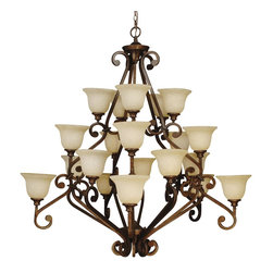 Craftmade - Craftmade Toscana Traditional Chandelier X-02RP2519 - Multiple tiers of lights and fluid scrollwork add to the grandeur of this Craftmade chandelier. From the Toscana Collection, the rich tones of the Peruvian Bronze finish accentuate all the elegant curves and details, while twenty antique scavo glass shades pull the look together.