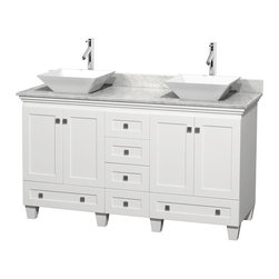 "Wyndham Collection - 60"" Acclaim White Double Vanity w/ White Carrera Top & Pyra White Porcelain Sink - Sublimely linking traditional and modern design aesthetics, and part of the exclusive Wyndham Collection Designer Series by Christopher Grubb, the Acclaim Vanity is at home in almost every bathroom decor. This solid oak vanity blends the simple lines of traditional design with modern elements like beautiful overmount sinks and brushed chrome hardware, resulting in a timeless piece of bathroom furniture. The Acclaim comes with a White Carrera or Ivory marble counter, a choice of sinks, and matching mirrors. Featuring soft close door hinges and drawer glides, you'll never hear a noisy door again! Meticulously finished with brushed chrome hardware, the attention to detail on this beautiful vanity is second to none and is sure to be envy of your friends and neighbors"