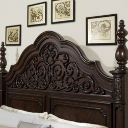 """Pulaski - Cassara Panel Headboard - Regal and refined, Cassara is a story of shape and distinct veneers. The cordavan finish and moldings throughout add a relaxed sense of elegance. Generously scaled, with its origins from traditional European silhouettes, Cassara focuses on beautiful finishes, rich materials and luxurious details. Features: -Traditional style.-Uniquely shaped crown with faux metal decor.-Fine detailed moldings.-Rich materials and luxurious details.-Veneer construction.-Cordovan finish.-Cassara collection.-Solid Wood Construction: No.-Upholstered: No.-Adjustable Height: No.-Wall Mounted: No.-Reversible: No.-Distressed: No.-Hidden Storage: No.-Freestanding: No.-Frame Required: Yes.-Frame Included: No.Dimensions: -Overall Height - Top to Bottom (Size: Queen): 72"""".-Overall Height - Top to Bottom (Size: King, California King): 74"""".-Overall Width - Side to Side (Size: Queen): 68"""".-Overall Width - Side to Side (Size: California King, King): 84"""".-Overall Depth - Front to Back (Size: Queen, King, California King): 6""""."""