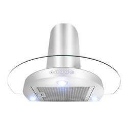 """AKDY - AKDY AK-10D1 Euro Stainless Steel Wall Mount Range Hood, 36"""" - This 36"""" hood ventilation system has a circular design with mesh filters and a base assembly in stainless steel. There are three settings for different ventilation levels. There are three LED lights give bright stove top illumination. The removable grease filter is dishwasher safe. The hood chimney's is height adjustable. This item is created for mounting on the wall. Recirculation kit is optional."""