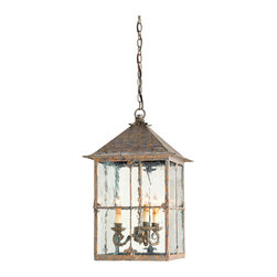 "Kathy Kuo Home - Pagoda Bird Cage Seeded Glass 3 Light Lantern Lamp - The simplicity of the Asian inspired pagoda lantern's shape is accented with the subtle detailing of its ""roof"" treatment and stylized fleur de lis. Seeded glass panels and a bark brown finish complete the look."