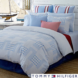 Tommy Hilfiger - Tommy Hilfiger Cape Town 3-piece Comforter Set - This reversible Tommy Hilfiger set has a vibrant blue pattern and reverses to a windowpane check print. The set includes standard shams (one sham with twin size).