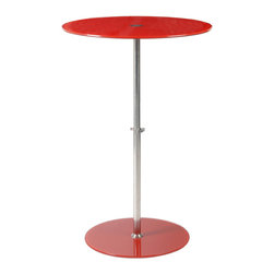 Euro Style - Euro Style Raina Side Table 21188RED - Matching tempered glass tabletops and bases are the main design statement here. On the practical side, the stainless steel column is adjustable so that the table can be used as a side table, at table height, or at counter height. Versatile as you are creative.