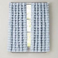 Kids Curtains: Light Blue Ruffled Curtain Panels in Curtains