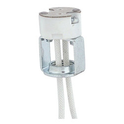 "American De Rosa - ADL D6425 G8 Porcelain Bi-Pin Halogen Socket - Porcelain bi-pin halogen socket with 10"" leadsMinimum quantity of 10."