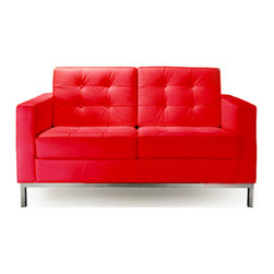 IFN Modern - Florence Knoll Style Loveseat-Red - 100% Italian Leather - Florence Knoll, an acclaimed architect and designer, first conceived this beautiful chair in 1956. Knoll's philosophy for furniture design comes from the value that she placed on practicality and aesthetic beauty. The pieces resulting from her philosophical vision are considered to be minimalistically beautiful without compromising on durability and comfort. Knoll was also known to study and collaborate with renowned architect and designer Mies Van Der Rohe, this collaboration also lended a hand in her highly sought after artistic vision. The classic trio was designed by Knoll using a durable stainless steel frame with minimal materials. The chair features beautiful cubic cushions complimented with compressed buttons in a functional layout which provides both style and comfort to the thin, minimalist supporting arms. The Knoll Sofa, Loveseat, and Chair are becoming more and more highly desired as their minimal yet practical design can adapt perfectly into today's modern home or space.