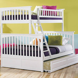 Columbia Twin over Full Bunk Bed with Raised Panel Trundle Bed in White - The Columbia Twin over Full Bunk Bed with Raised Panel Trundle Bed in White - Atlantic Furniture is finished in a vibrant white that was put on in 5 careful steps to ensure it looks new for years. The bed was built with eco-friendly Rubberwood; making it kid-strong and beautiful. Your child will love having a great view of her room while sleeping up high on the twin bed, and will enjoy having sleep space for friends and siblings on the full bed below. This bunk bed set offers convenience, style and functionality all in one great space.