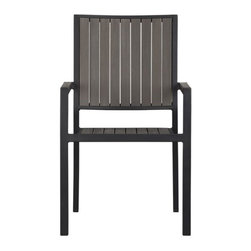 Alfresco Grey Dining Chair - Casual and stylish Alfresco fools the eye with the look of real wood and fools the elements with waterproof, and UV- and fade-resistant qualities. The result is an outdoor collection that will last season after season for years to come. Slats of innovative polystyrene faux wood are treated with UV and anti-oxidant protection and finished a warm grey. Sturdy but lightweight aluminum frames are powdercoated black. Slat arm chairs stack up to four high for easy storage.