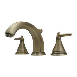 Whitehaus Collection - Pewter Whitehaus 514.111WS Widespread Deck Mount Three Holes Lever Bathroom Fauc - Widespread deck mount three holes lever bathroom faucet by Whitehaus combining modern and traditional style that makes this faucet as attractive detail of many various bathroom styles. Classical matching designed spout and two triangle shaped lever handles provides you to precisely control water pressure and temperature. Water flows smoothly from its curved spout.