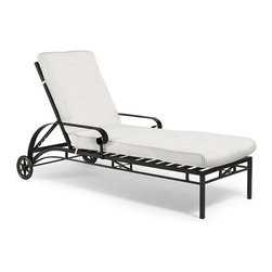 Frontgate - Roma Outdoor Chaise Lounge with Cushions, Patio Furniture - High quality, extruded 3.0 mm gauge aluminum frame is sturdy and lightweight. Designed to look and feel like wrought iron. Frame is fully welded for structural integrity over time. Rear wheels facilitate movement around the pool deck or into storage. Adjust to four positions, from upright to fully reclined. With purity of form and meticulous craftsmanship, our classic X-back Roma Chaise Lounge bridges the traditional and the modern with exceptional comfort. The light and airy design is crafted of an extruded 3.0 mm gauge aluminum frame that is fully welded for structural integrity. Brass finials and medallions glint in the sunshine and will acquire a verdigris patina over time.Part of the Roma Collection  .  .  .  .  . Arrives with a plush, all-weather seat cushion . Cushion is constructed of a high-resiliency foam core with soft polyester wrap . Finished with 100% solution dyed fabric covers that resist mold, mildew and fading . Brass accents can be polished to maintain shine . Imported.