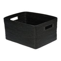 Kouboo - Rectangular Rattan Storage Basket, Black - 17.25 inches long x 12.75 inches wide x 9.25 inches high