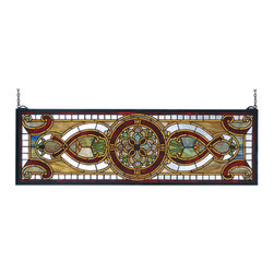 Meyda - 35 Inch W x 11 Inch H Evelyn in Topaz Transom Windows - Color theme: Green/blue purple/blue burgundy Zai HA