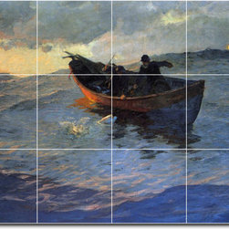 Picture-Tiles, LLC - Struggle For The Catch Tile Mural By Edward Potthast - * MURAL SIZE: 24x32 inch tile mural using (12) 8x8 ceramic tiles-satin finish.
