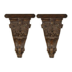 Uttermost - Uttermost 20613  Mora Distressed Chestnut Shelves, Set/2 - This set of two shelves has a distressed chestnut brown finish with tan undertones and a gray glaze.
