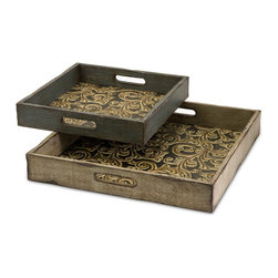 Corinne Square Wooden Serving Trays - Set of 2 - Set of two square serving trays displaying an ornate scroll interior.
