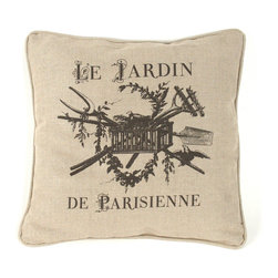 """Zentique - French Pillow, """"Le Jardin De Parisienne"""" - The French Pillow collection features a natural linen pillow with variations to choose from."""